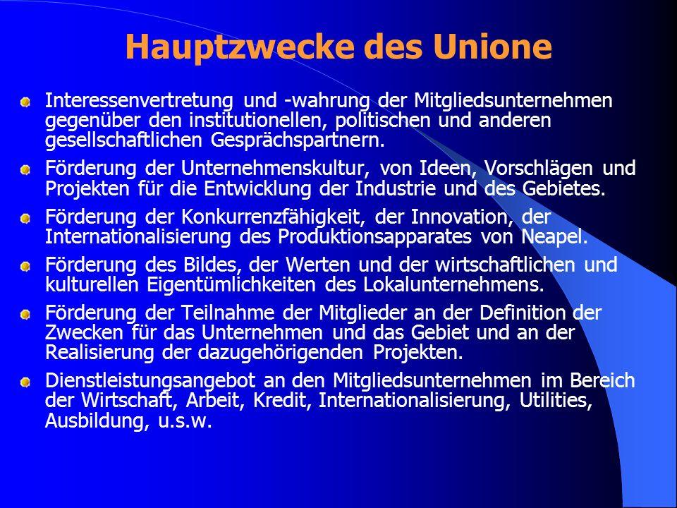 Hauptzwecke des Unione Interessenvertretung und -wahrung der Mitgliedsunternehmen gegenüber den institutionellen, politischen und anderen gesellschaft