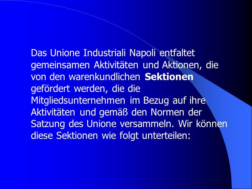 Das Unione Industriali Napoli entfaltet gemeinsamen Aktivitäten und Aktionen, die von den warenkundlichen Sektionen gefördert werden, die die Mitgliedsunternehmen im Bezug auf ihre Aktivitäten und gemäß den Normen der Satzung des Unione versammeln.
