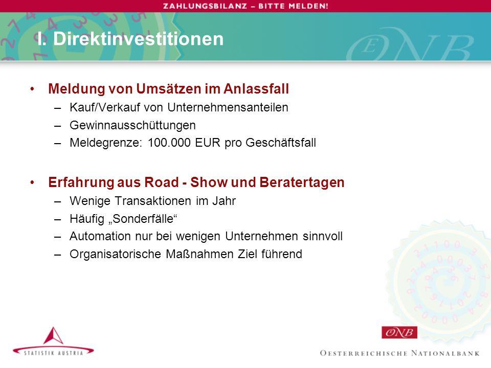 I. Direktinvestitionen Meldung von Umsätzen im Anlassfall –Kauf/Verkauf von Unternehmensanteilen –Gewinnausschüttungen –Meldegrenze: 100.000 EUR pro G