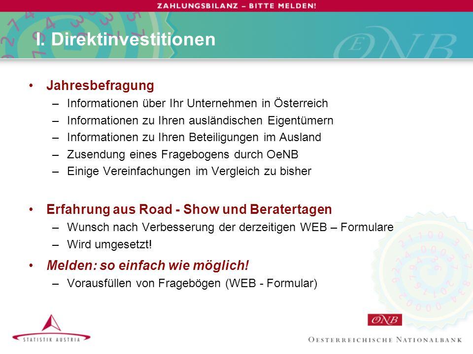 I. Direktinvestitionen Jahresbefragung –Informationen über Ihr Unternehmen in Österreich –Informationen zu Ihren ausländischen Eigentümern –Informatio