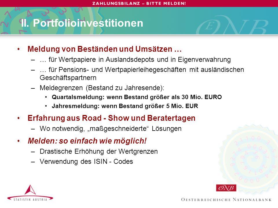 II. Portfolioinvestitionen Meldung von Beständen und Umsätzen … –… für Wertpapiere in Auslandsdepots und in Eigenverwahrung –… für Pensions- und Wertp