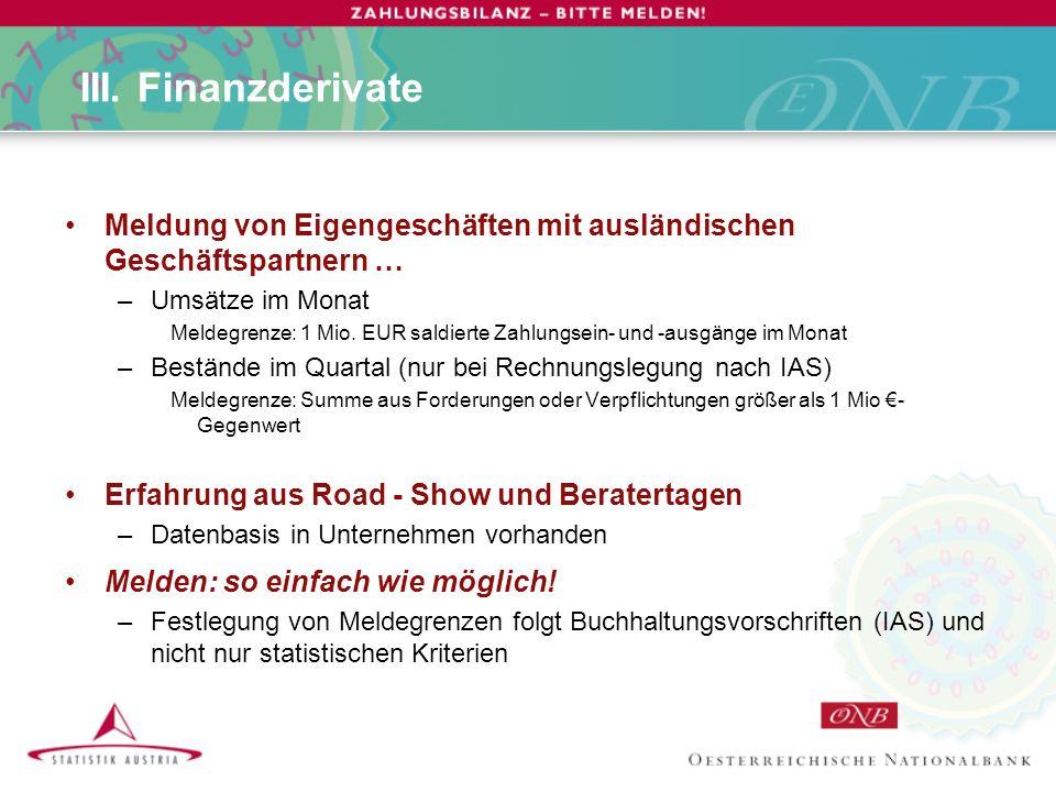 III. Finanzderivate Meldung von Eigengeschäften mit ausländischen Geschäftspartnern … –Umsätze im Monat Meldegrenze: 1 Mio. EUR saldierte Zahlungsein-
