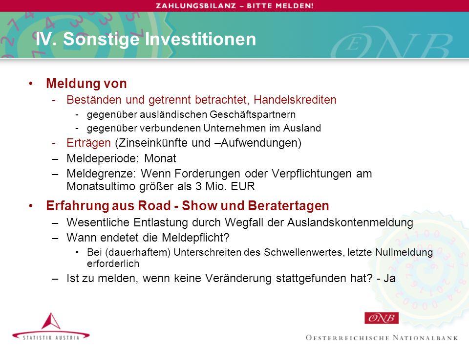 IV. Sonstige Investitionen Meldung von -Beständen und getrennt betrachtet, Handelskrediten -gegenüber ausländischen Geschäftspartnern -gegenüber verbu