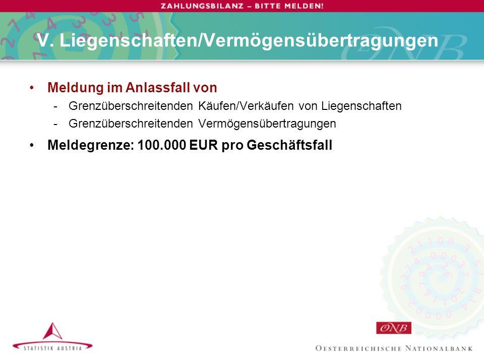 V. Liegenschaften/Vermögensübertragungen Meldung im Anlassfall von -Grenzüberschreitenden Käufen/Verkäufen von Liegenschaften -Grenzüberschreitenden V
