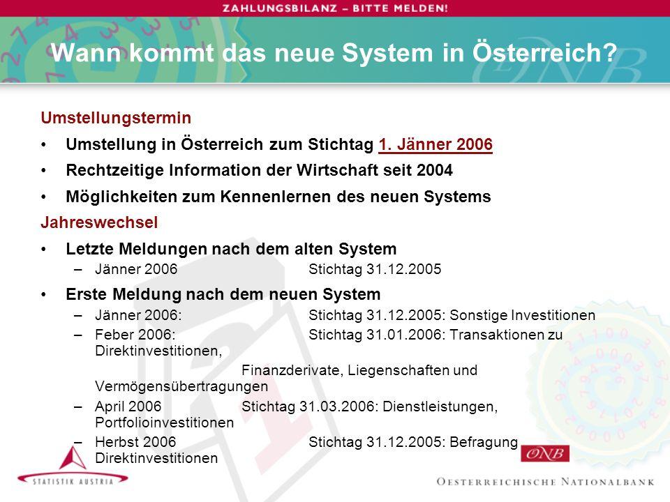 Umstellungstermin Umstellung in Österreich zum Stichtag 1.