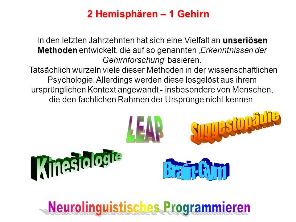 unseriösen Methoden In den letzten Jahrzehnten hat sich eine Vielfalt an unseriösen Methoden entwickelt, die auf so genannten Erkenntnissen der Gehirnforschung basieren.