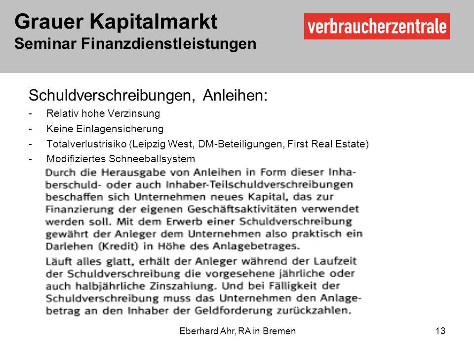 Grauer Kapitalmarkt Seminar Finanzdienstleistungen Eberhard Ahr, RA in Bremen 13 Schuldverschreibungen, Anleihen: -Relativ hohe Verzinsung -Keine Einlagensicherung -Totalverlustrisiko (Leipzig West, DM-Beteiligungen, First Real Estate) -Modifiziertes Schneeballsystem