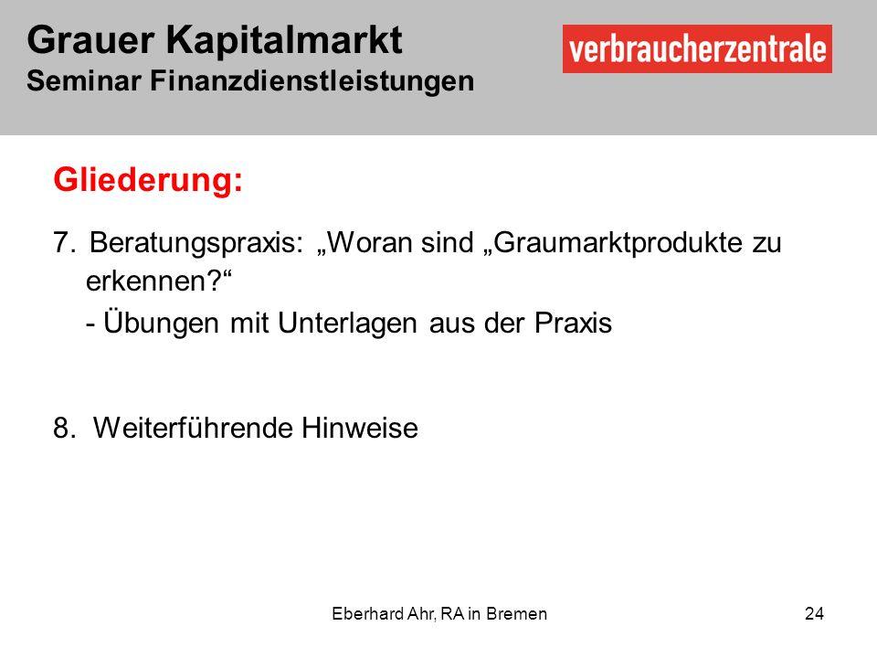 Grauer Kapitalmarkt Seminar Finanzdienstleistungen Eberhard Ahr, RA in Bremen 24 Gliederung: 7.