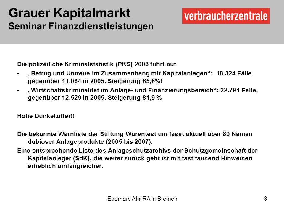 Grauer Kapitalmarkt Seminar Finanzdienstleistungen Eberhard Ahr, RA in Bremen 3 Die polizeiliche Kriminalstatistik (PKS) 2006 führt auf: -Betrug und Untreue im Zusammenhang mit Kapitalanlagen: 18.324 Fälle, gegenüber 11.064 in 2005.