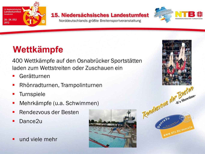 Wettkämpfe 400 Wettkämpfe auf den Osnabrücker Sportstätten laden zum Wettstreiten oder Zuschauen ein Gerätturnen Rhönradturnen, Trampolinturnen Turnsp