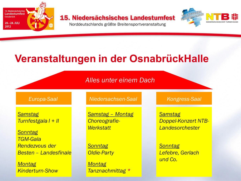 Veranstaltungen in der OsnabrückHalle Europa-Saal Familien Alles unter einem Dach Niedersachsen-SaalKongress-Saal Samstag Turnfestgala I + II Sonntag