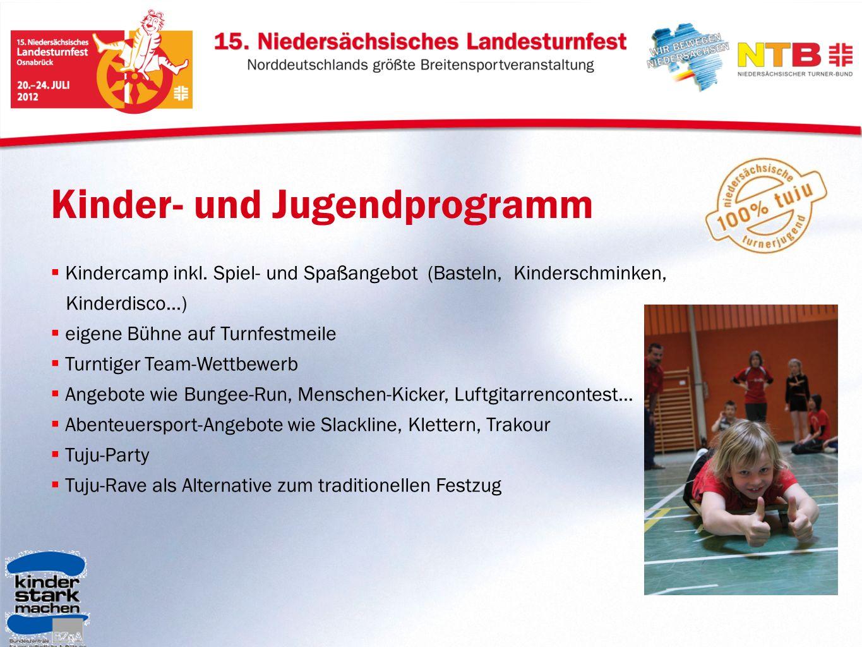 Kinder- und Jugendprogramm Kindercamp inkl. Spiel- und Spaßangebot (Basteln, Kinderschminken, Kinderdisco...) eigene Bühne auf Turnfestmeile Turntiger
