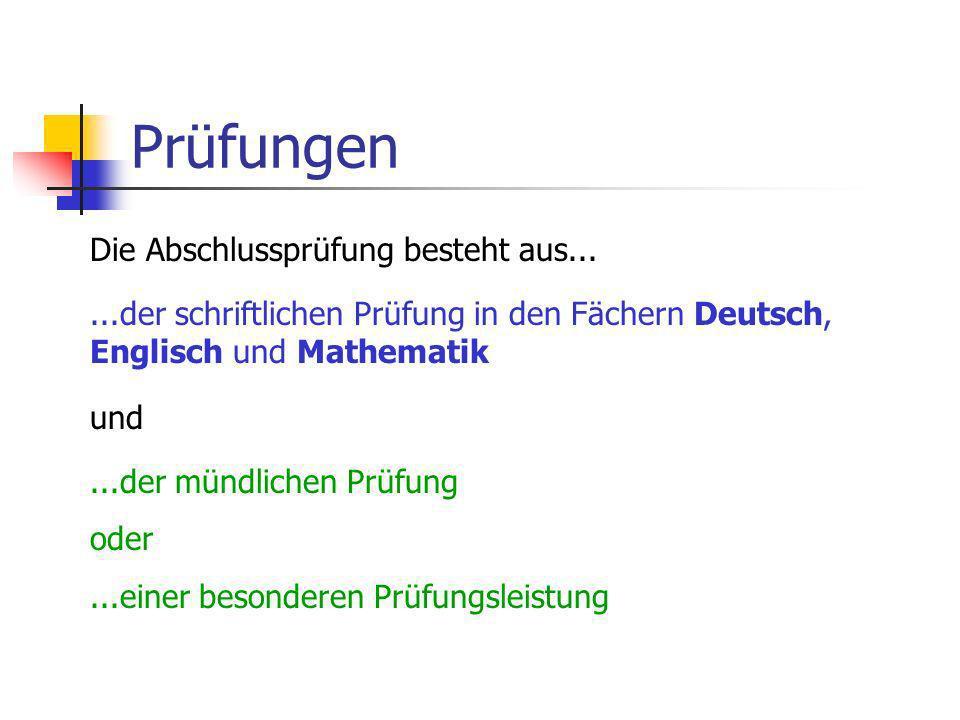 Prüfungen Die Abschlussprüfung besteht aus......der schriftlichen Prüfung in den Fächern Deutsch, Englisch und Mathematik und...der mündlichen Prüfung