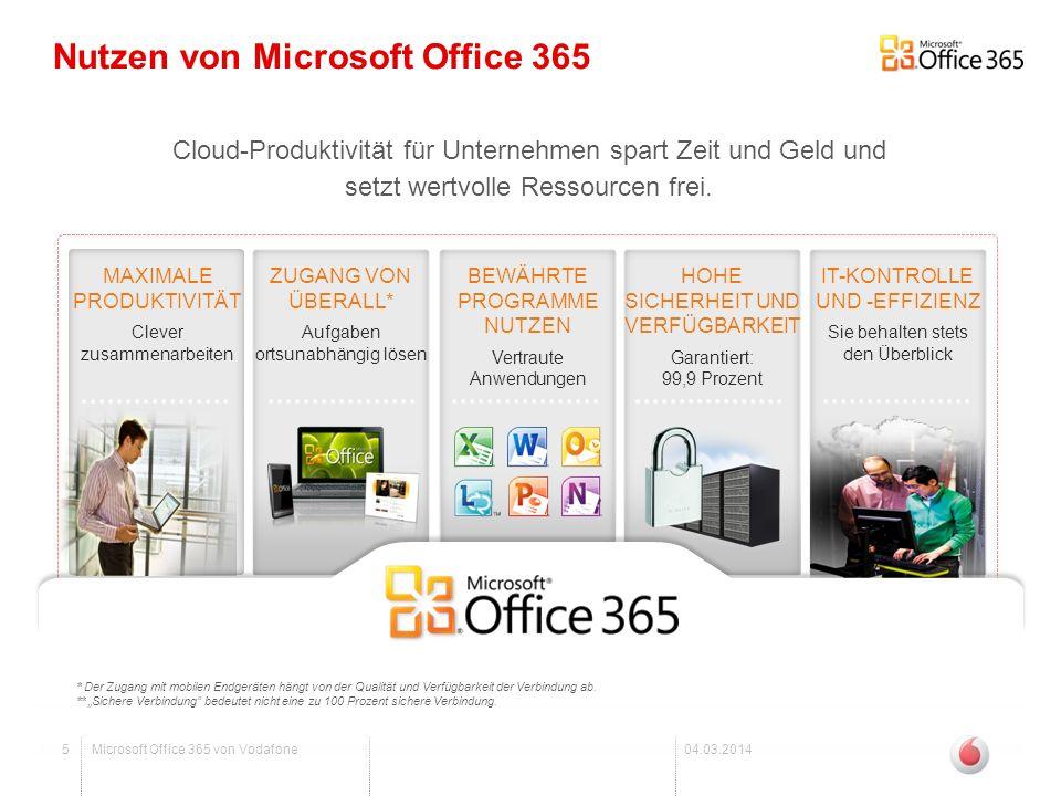 6Microsoft Office 365 von Vodafone04.03.2014 Office Professional Plus Office Professional Plus bietet Ihnen die bekannte Office-Suite mit folgenden Vorteilen: -Flexible Zahlweise nach Nutzung, pro Benutzerlizenz -Vereinfachtes Anlegen von Benutzern zur Vorkonfiguration -Stets die aktuelle Version der Office Apps inkl.
