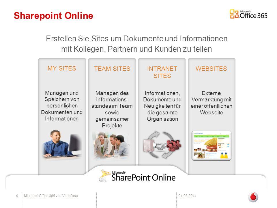 10Microsoft Office 365 von Vodafone04.03.2014 Lync Online Zusammenschluss von Office Communications Online und dem Live Meeting Online -Sofortnachrichten und Präsenzinformationen (auf dem Desktop-PC, im Browser oder auf mobilen Endgeräten je nach Tarif) -Audio- und Videoanrufe von PC zu PC (auf dem Desktop-PC, im Browser oder auf mobilen Endgeräten je nach Tarif) -Präsenzanzeige integriert mit Outlook, Sharepoint und anderen Office-Anwendungen -Videokonferenzen und interaktiver Anwendungs-/ Desktop- Freigabe sowie Whiteboardtools -Kalenderintegration in Outlook und Exchange -Sharing von Dateien und Applikationen -Möglichkeit zur Kommunikation über die Unternehmensgrenzen hinweg mit Mitarbeitern anderer Unternehmen, welche Lync Online nutzen (Federation)