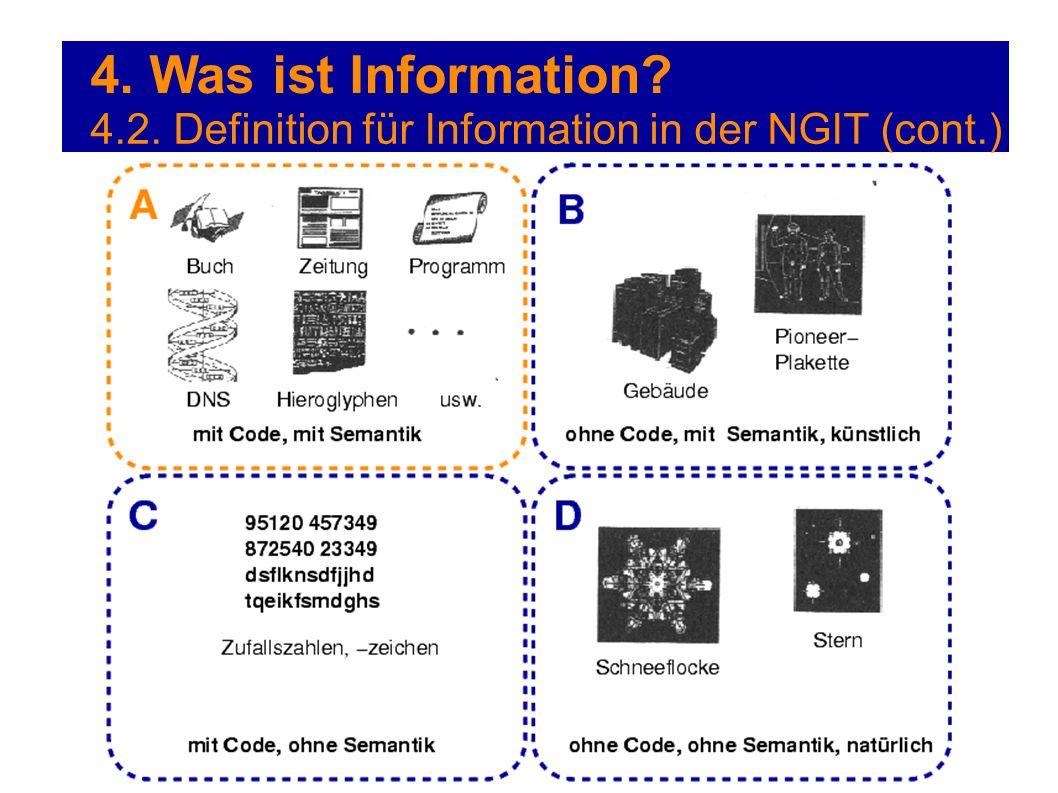 4. Was ist Information? 4.2. Definition für Information in der NGIT (cont.)