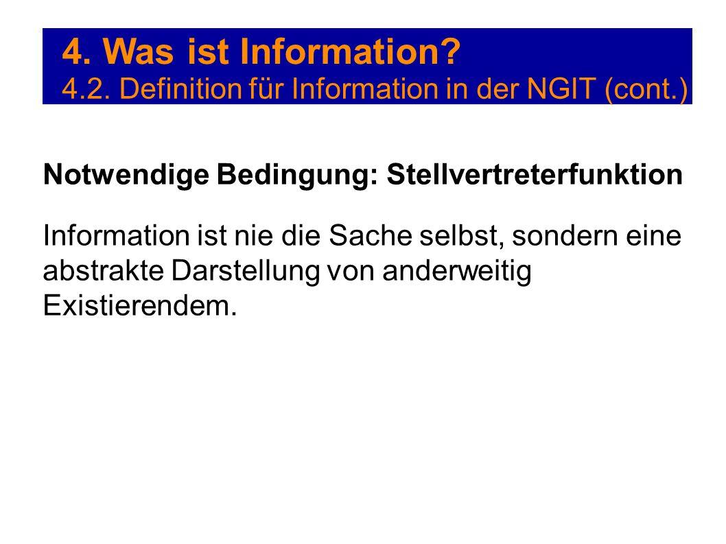 4. Was ist Information? 4.2. Definition für Information in der NGIT (cont.) Notwendige Bedingung: Stellvertreterfunktion Information ist nie die Sache