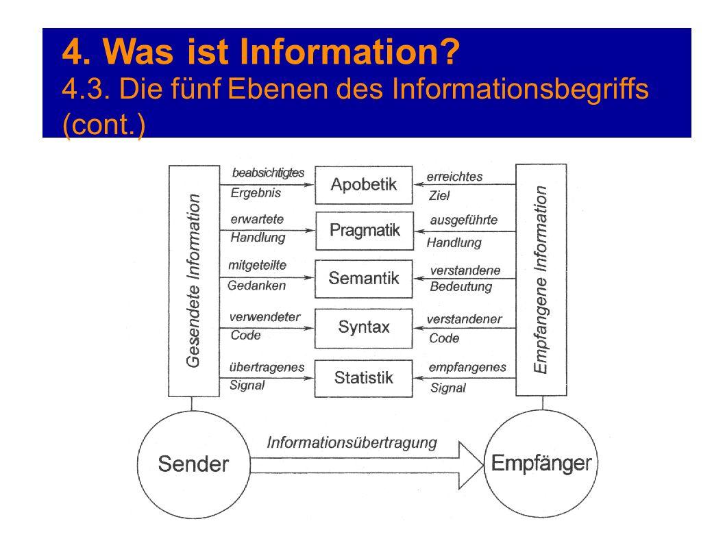 4. Was ist Information? 4.3. Die fünf Ebenen des Informationsbegriffs (cont.)
