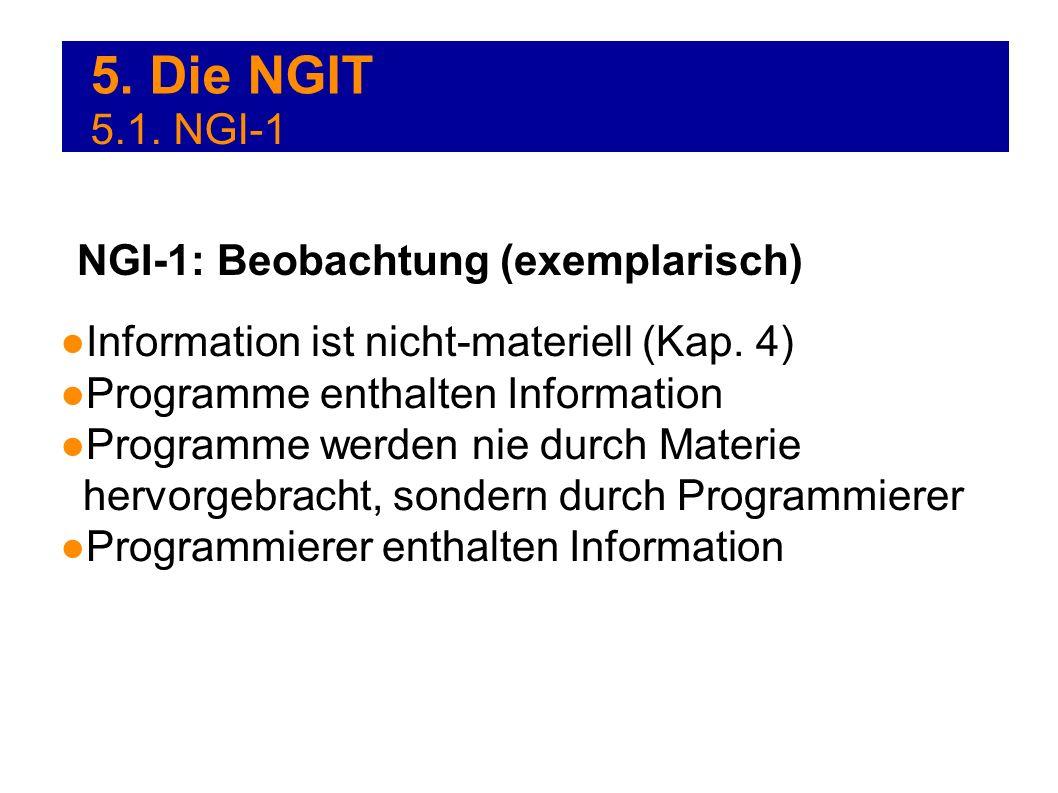 5. Die NGIT 5.1. NGI-1 Information ist nicht-materiell (Kap. 4) Programme enthalten Information Programme werden nie durch Materie hervorgebracht, son