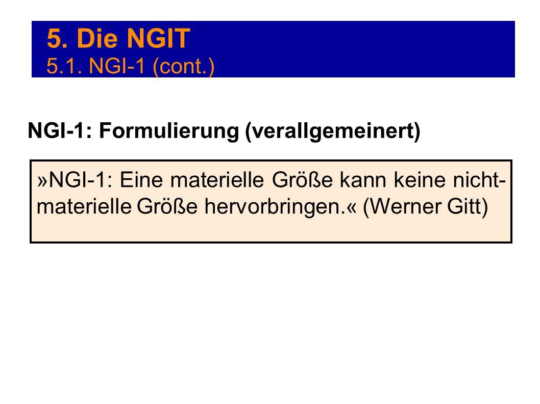 5. Die NGIT »NGI-1: Eine materielle Größe kann keine nicht- materielle Größe hervorbringen.« (Werner Gitt) NGI-1: Formulierung (verallgemeinert) 5.1.