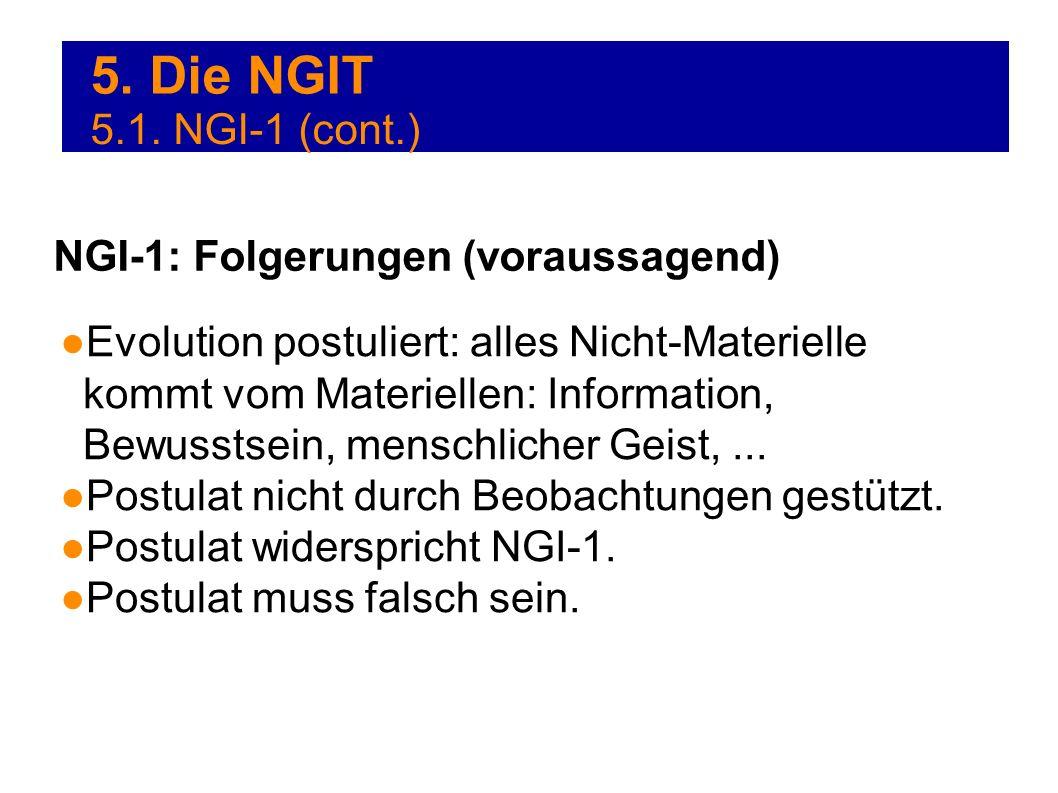 5. Die NGIT Evolution postuliert: alles Nicht-Materielle kommt vom Materiellen: Information, Bewusstsein, menschlicher Geist,... Postulat nicht durch