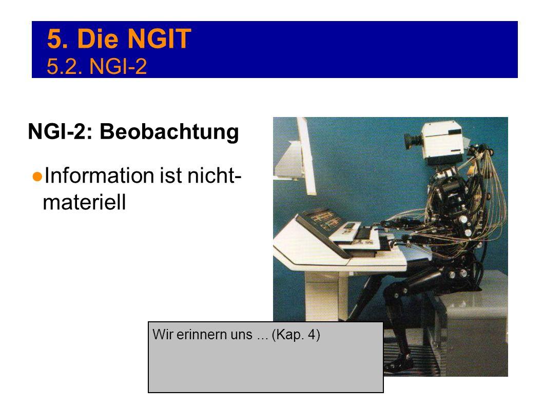 5. Die NGIT Information ist nicht- materiell NGI-2: Beobachtung 5.2. NGI-2 Wir erinnern uns... (Kap. 4)