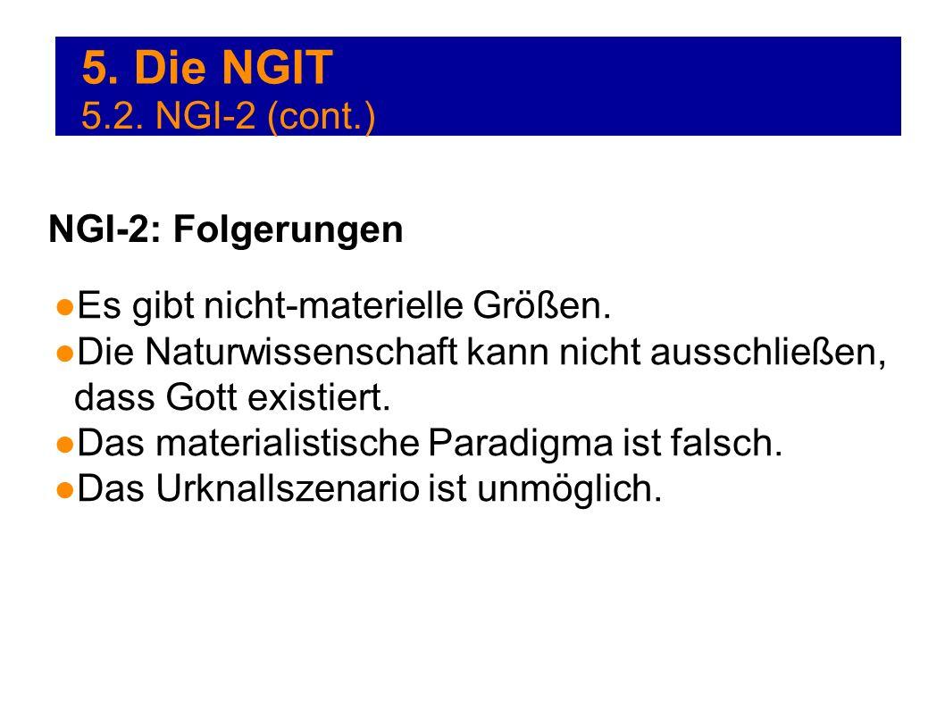 5. Die NGIT Es gibt nicht-materielle Größen. Die Naturwissenschaft kann nicht ausschließen, dass Gott existiert. Das materialistische Paradigma ist fa