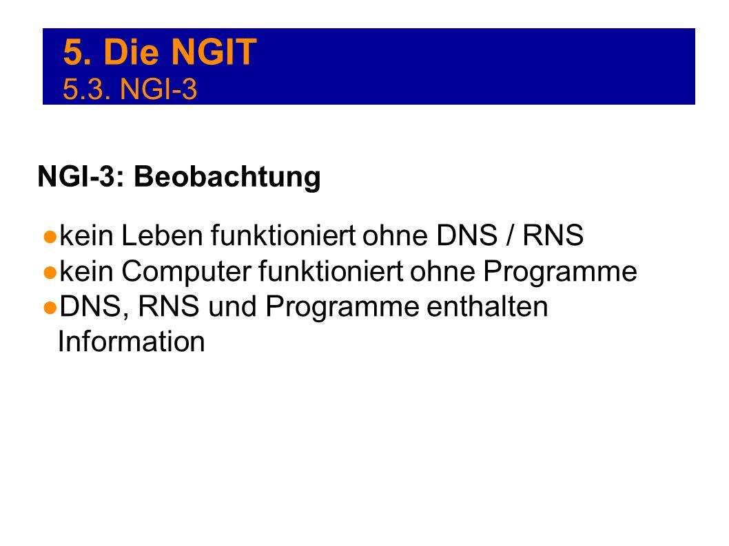 5. Die NGIT kein Leben funktioniert ohne DNS / RNS kein Computer funktioniert ohne Programme DNS, RNS und Programme enthalten Information NGI-3: Beoba