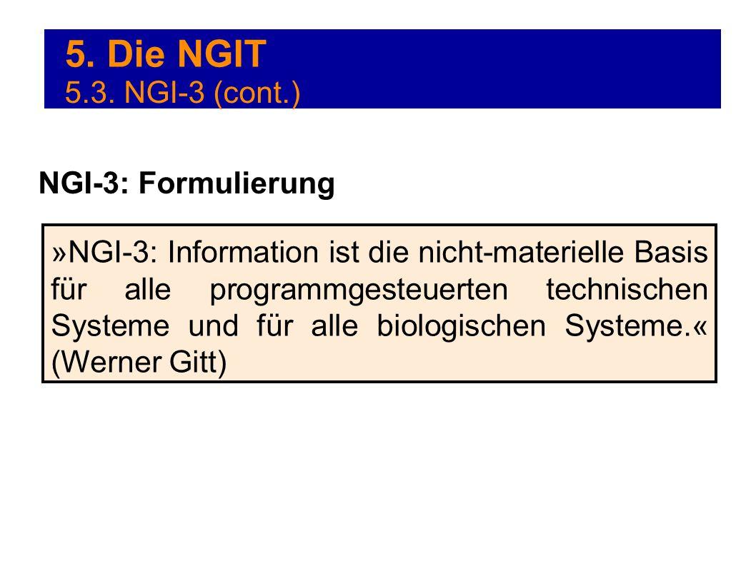 5. Die NGIT »NGI-3: Information ist die nicht-materielle Basis für alle programmgesteuerten technischen Systeme und für alle biologischen Systeme.« (W