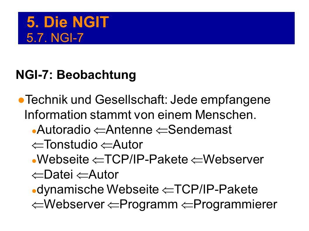 5. Die NGIT Technik und Gesellschaft: Jede empfangene Information stammt von einem Menschen. Autoradio Antenne Sendemast Tonstudio Autor Webseite TCP/
