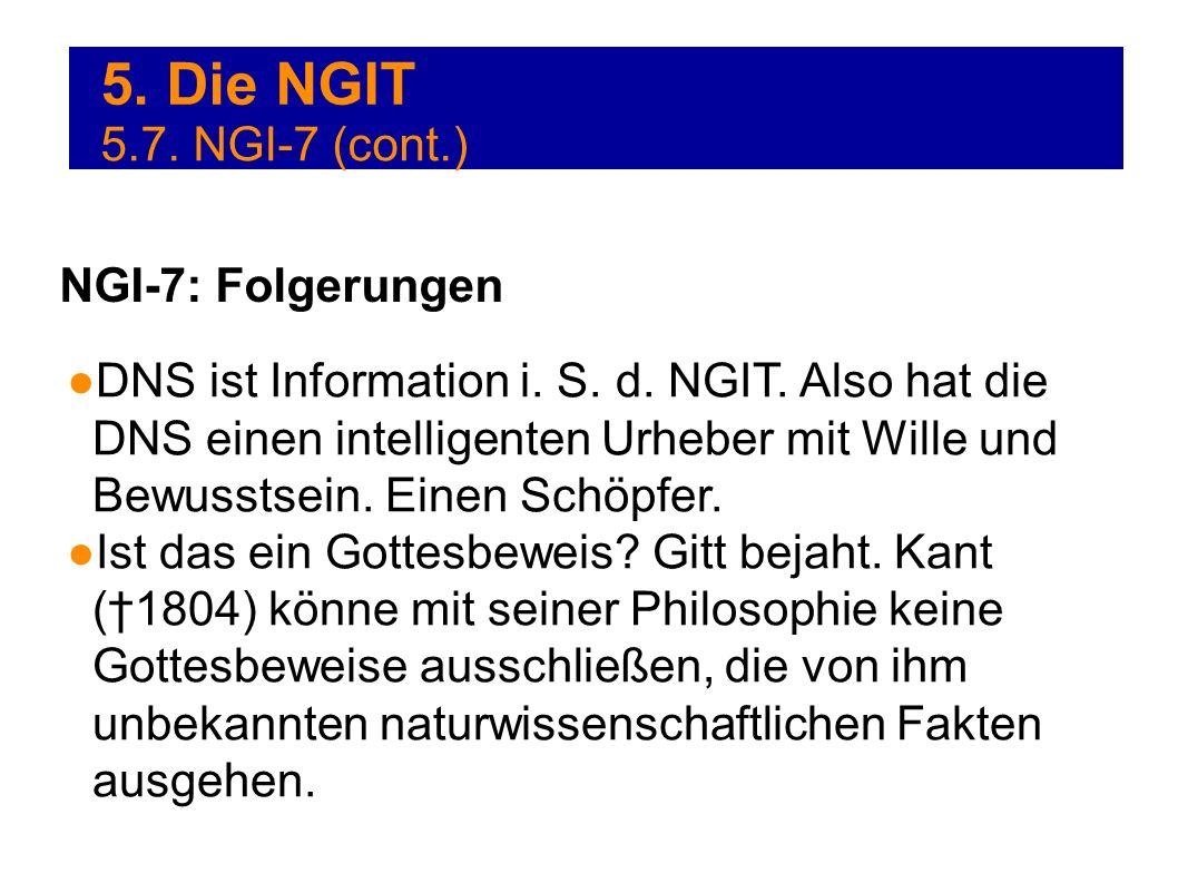 5. Die NGIT DNS ist Information i. S. d. NGIT. Also hat die DNS einen intelligenten Urheber mit Wille und Bewusstsein. Einen Schöpfer. Ist das ein Got