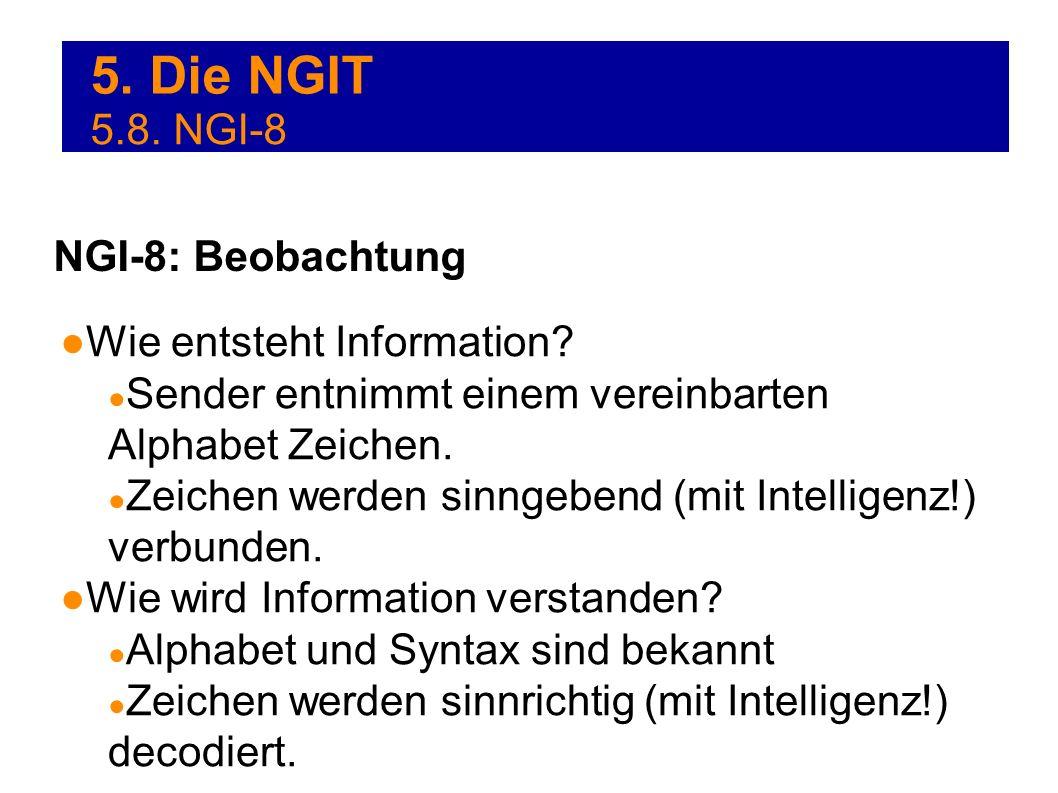 5. Die NGIT Wie entsteht Information? Sender entnimmt einem vereinbarten Alphabet Zeichen. Zeichen werden sinngebend (mit Intelligenz!) verbunden. Wie