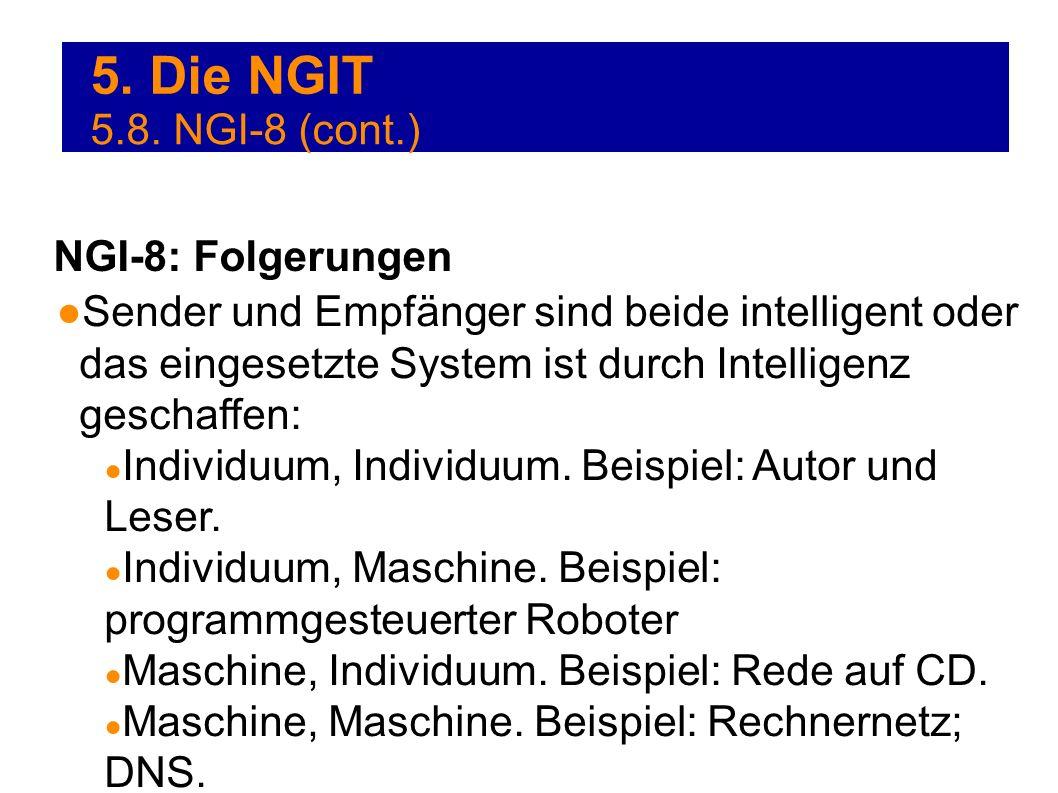 5. Die NGIT Sender und Empfänger sind beide intelligent oder das eingesetzte System ist durch Intelligenz geschaffen: Individuum, Individuum. Beispiel