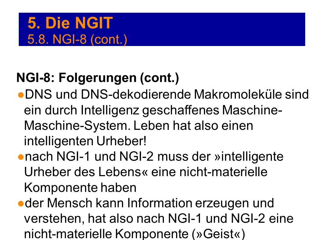 5. Die NGIT DNS und DNS-dekodierende Makromoleküle sind ein durch Intelligenz geschaffenes Maschine- Maschine-System. Leben hat also einen intelligent