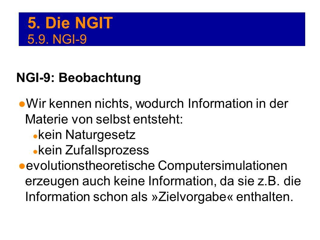 5. Die NGIT Wir kennen nichts, wodurch Information in der Materie von selbst entsteht: kein Naturgesetz kein Zufallsprozess evolutionstheoretische Com