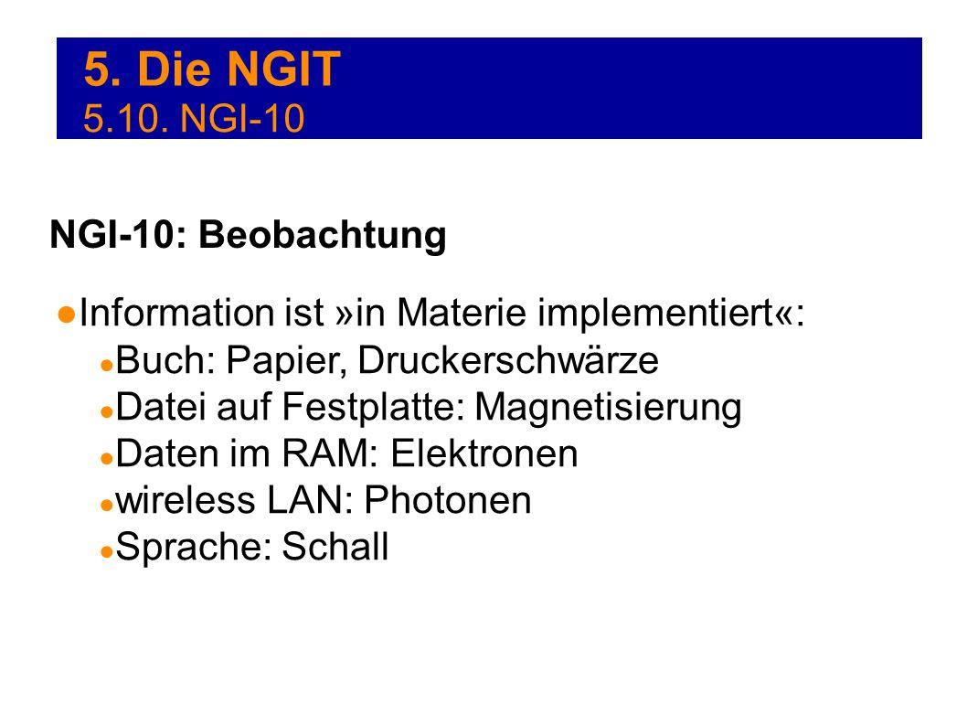 5. Die NGIT Information ist »in Materie implementiert«: Buch: Papier, Druckerschwärze Datei auf Festplatte: Magnetisierung Daten im RAM: Elektronen wi