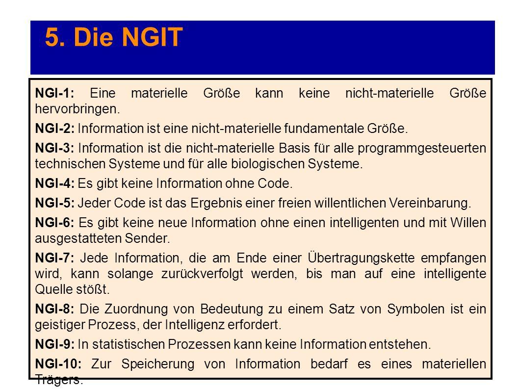 5. Die NGIT NGI-1: Eine materielle Größe kann keine nicht-materielle Größe hervorbringen. NGI-2: Information ist eine nicht-materielle fundamentale Gr