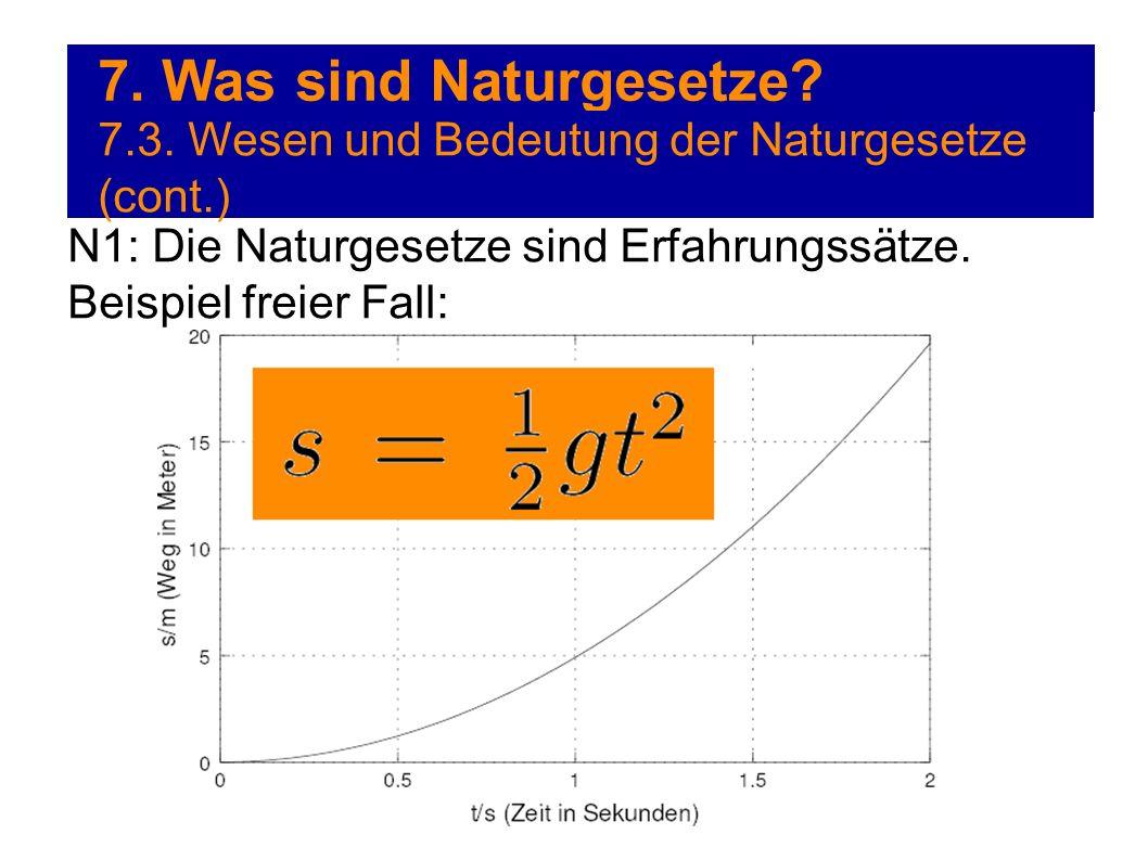 7. Was sind Naturgesetze? 7.3. Wesen und Bedeutung der Naturgesetze (cont.) N1: Die Naturgesetze sind Erfahrungssätze. Beispiel freier Fall: