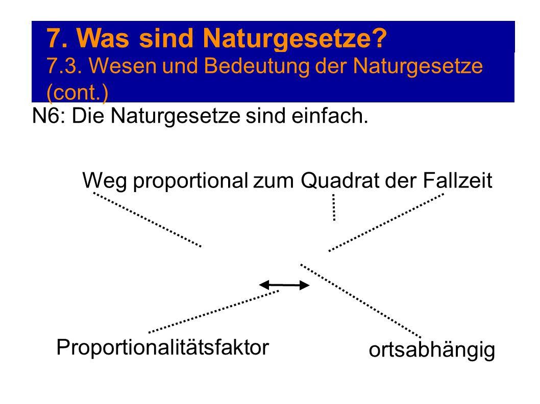 7. Was sind Naturgesetze? 7.3. Wesen und Bedeutung der Naturgesetze (cont.) N6: Die Naturgesetze sind einfach. Weg proportional zum Quadrat der Fallze