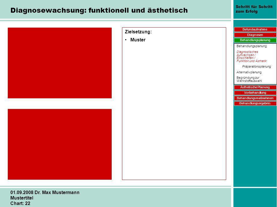 Schritt für Schritt zum Erfolg 01.09.2008 Dr. Max Mustermann Mustertitel Chart: 22 Zielsetzung: Muster Befundaufnahme Diagnosen Behandlungsplanung Äst
