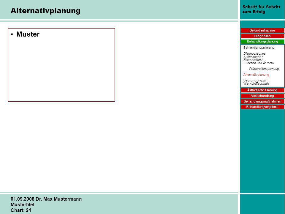Schritt für Schritt zum Erfolg 01.09.2008 Dr. Max Mustermann Mustertitel Chart: 24 Muster Befundaufnahme Diagnosen Behandlungsplanung Ästhetische Plan