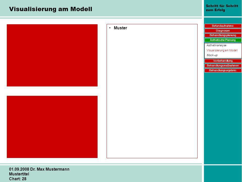 Schritt für Schritt zum Erfolg 01.09.2008 Dr. Max Mustermann Mustertitel Chart: 28 Visualisierung am Modell Muster Befundaufnahme Diagnosen Behandlung