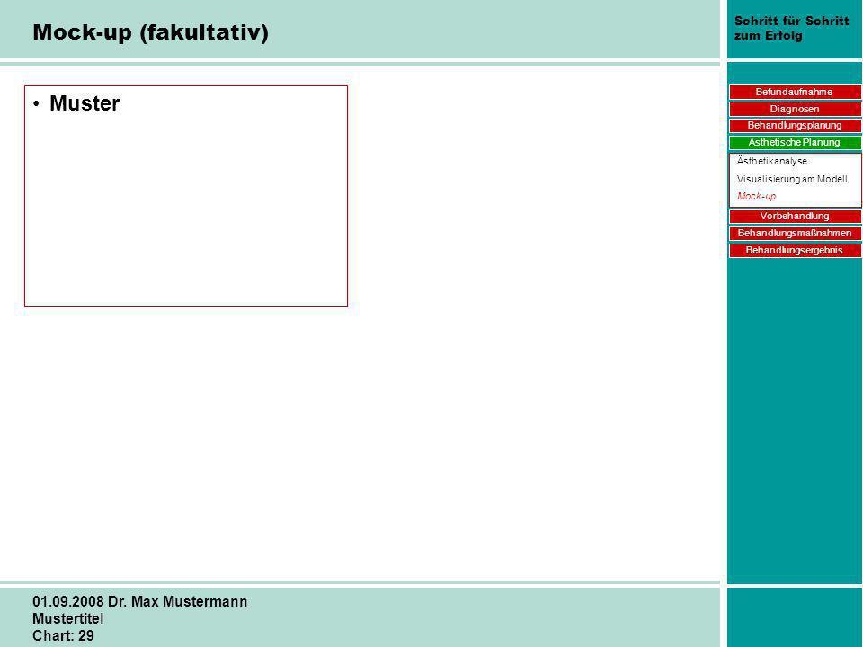 Schritt für Schritt zum Erfolg 01.09.2008 Dr. Max Mustermann Mustertitel Chart: 29 Mock-up (fakultativ) Muster Befundaufnahme Diagnosen Behandlungspla
