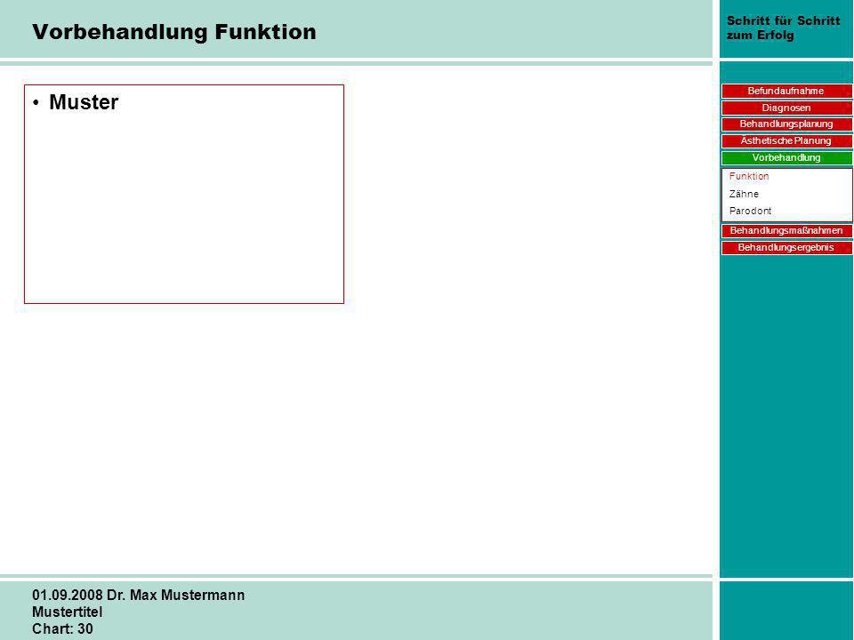 Schritt für Schritt zum Erfolg 01.09.2008 Dr. Max Mustermann Mustertitel Chart: 30 Vorbehandlung Funktion Muster Befundaufnahme Diagnosen Behandlungsp