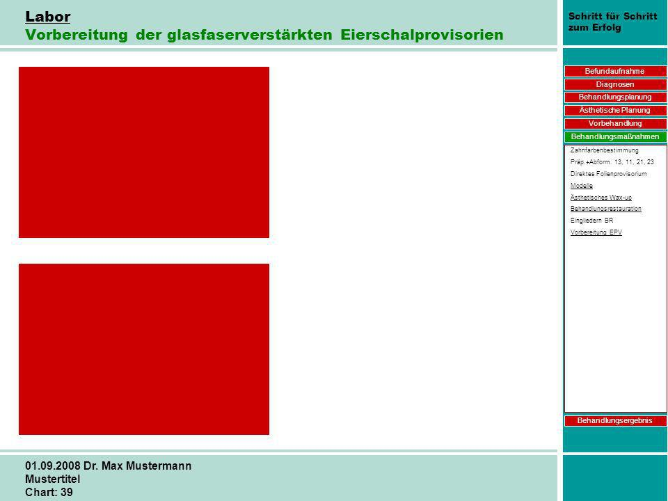 Schritt für Schritt zum Erfolg 01.09.2008 Dr. Max Mustermann Mustertitel Chart: 39 Labor Vorbereitung der glasfaserverstärkten Eierschalprovisorien Be