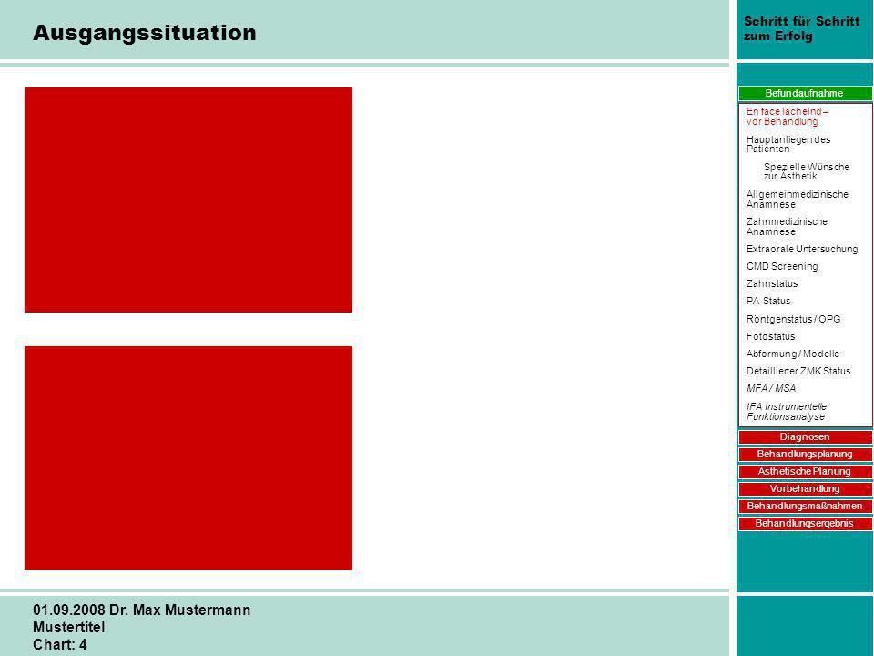 Schritt für Schritt zum Erfolg 01.09.2008 Dr. Max Mustermann Mustertitel Chart: 4 Ausgangssituation Befundaufnahme Diagnosen Behandlungsplanung Ästhet