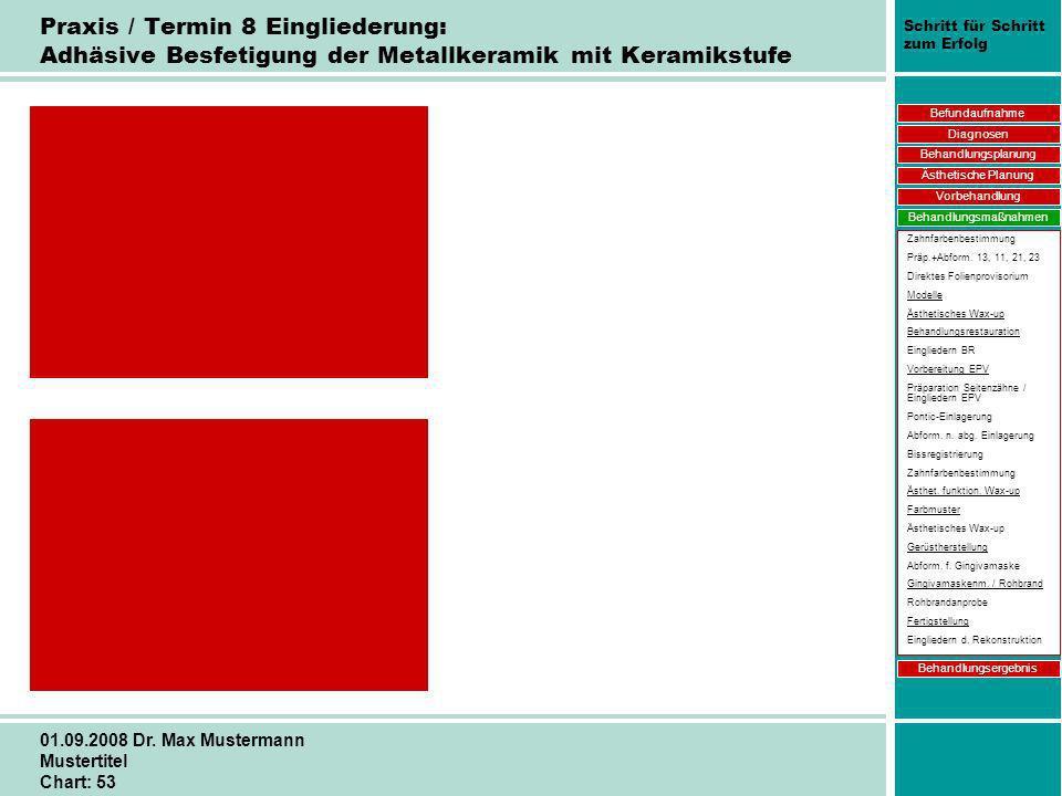 Schritt für Schritt zum Erfolg 01.09.2008 Dr. Max Mustermann Mustertitel Chart: 53 Praxis / Termin 8 Eingliederung: Adhäsive Besfetigung der Metallker