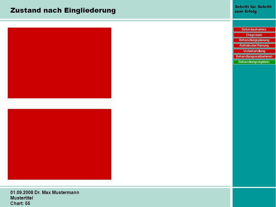 Schritt für Schritt zum Erfolg 01.09.2008 Dr. Max Mustermann Mustertitel Chart: 55 Zustand nach Eingliederung Befundaufnahme Diagnosen Behandlungsplan