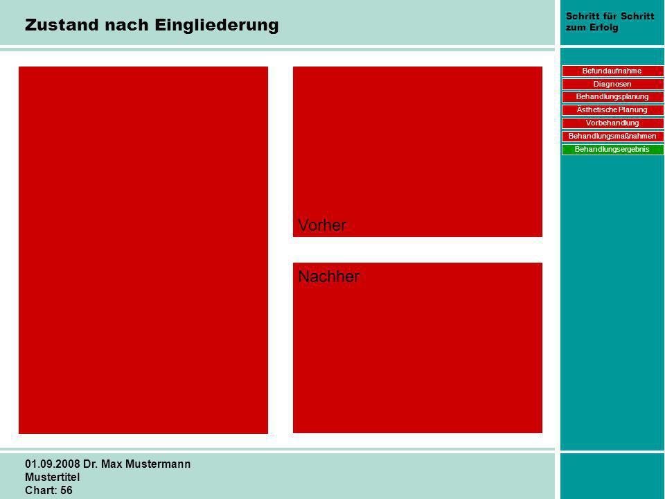 Schritt für Schritt zum Erfolg 01.09.2008 Dr. Max Mustermann Mustertitel Chart: 56 Zustand nach Eingliederung Vorher Nachher Befundaufnahme Diagnosen
