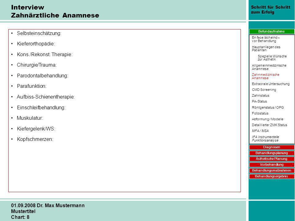 Schritt für Schritt zum Erfolg 01.09.2008 Dr. Max Mustermann Mustertitel Chart: 8 Interview Zahnärztliche Anamnese Selbsteinschätzung: Kieferorthopädi